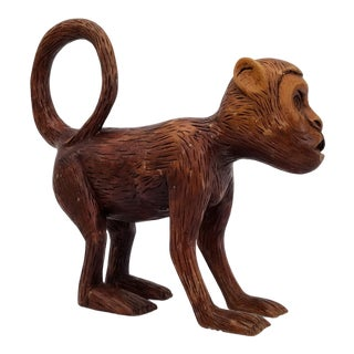 1980s Hand Carved Wood Monkey Sculpture / Figurine For Sale