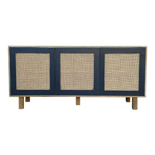 Mid-Century Modern Wood and Caning Large Buffet Credenza