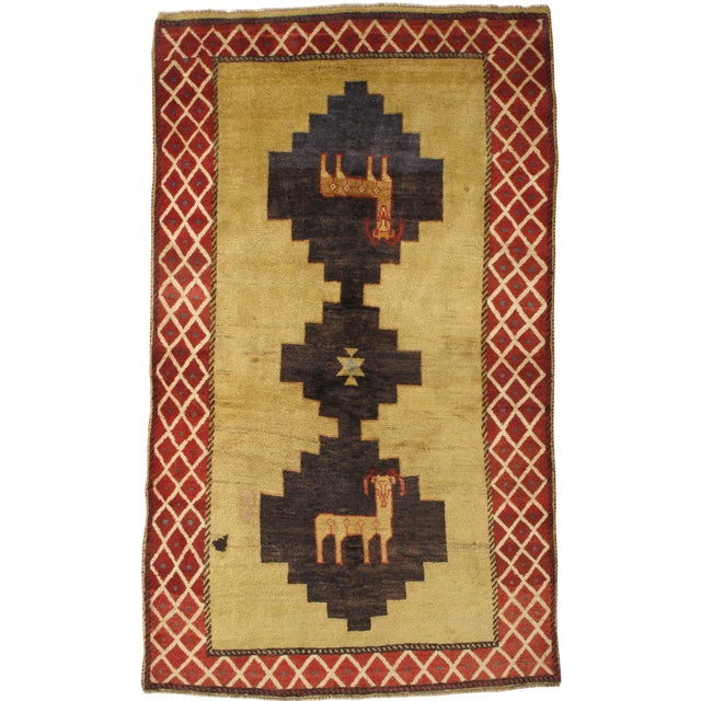 """Vintage Persian Gabbeh Rug - 4'3"""" x 7'4"""" For Sale"""