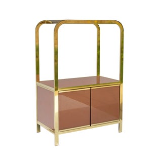 Dia Design Institute of America Brass Etagere With Peach Reverse Painted Glass For Sale