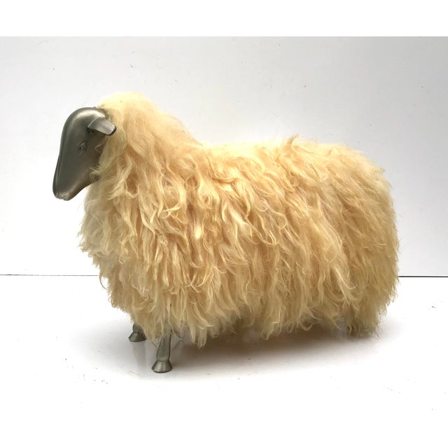 1970's Lalanne Style Sheep Ottoman Stool For Sale - Image 10 of 11