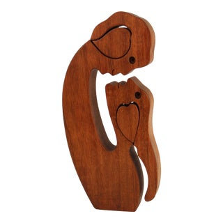 Mid-Century Modern Carved Wood Puzzle Sculpture For Sale