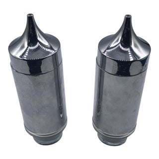 Modernist Chrome and Glass Salt and Pepper Shakers - a Pair For Sale