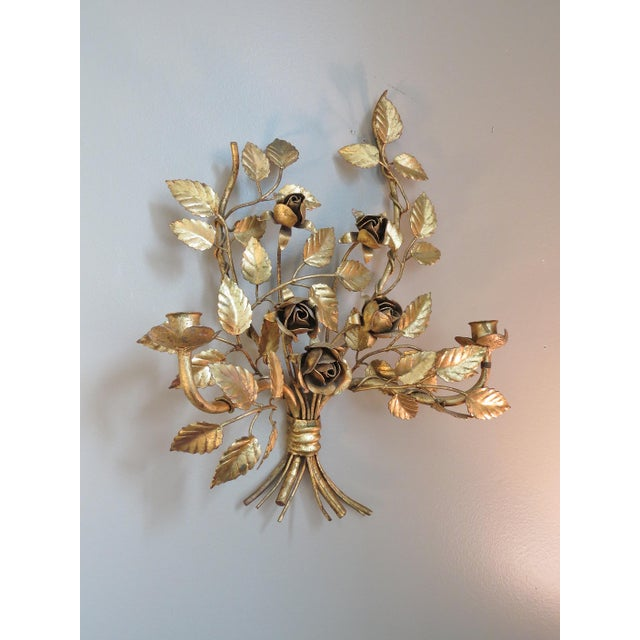 Vintage Italian Gilded Tole Wall Sconces - a Pair - Image 5 of 8