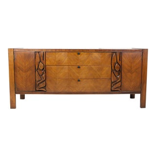 1970s Vintage Brutalist 9 Drawer Dresser by United Furniture For Sale
