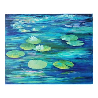 Water Lily Pads and Lotus Flowers Acrylic on Canvas Original Painting For Sale