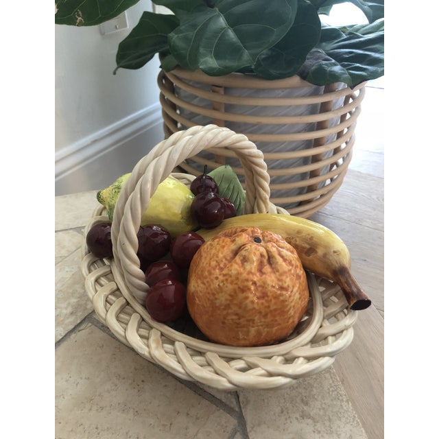 Tan 1960s Vintage Italian Ceramic Fruit Bowl For Sale - Image 8 of 11