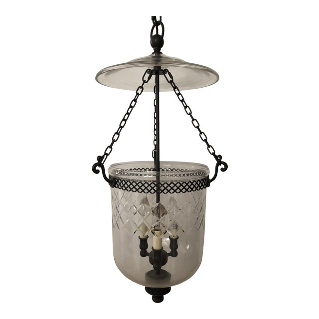 Vintage Cut Glass Bell Jar Lantern For Sale