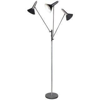 1970s Gino Sarfatti Style Koch & Lowy Articulating Triple Shade Nickel Floor Lamp For Sale