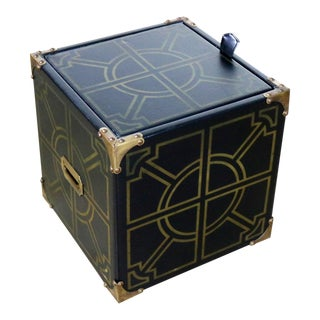 20th Century Campaign Style Black Vinyl Upholstered Cube Storage Ottoman For Sale