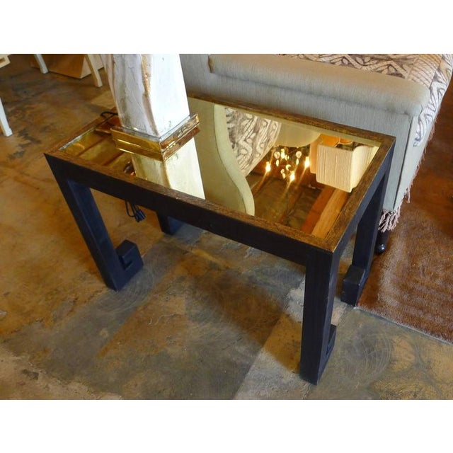 Black Distressed Greek Key Tables With Brass Metal Inset - Pair For Sale - Image 8 of 9