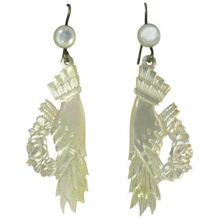 Unusual Victorian Mother of Pearl Hand Earrings For Sale