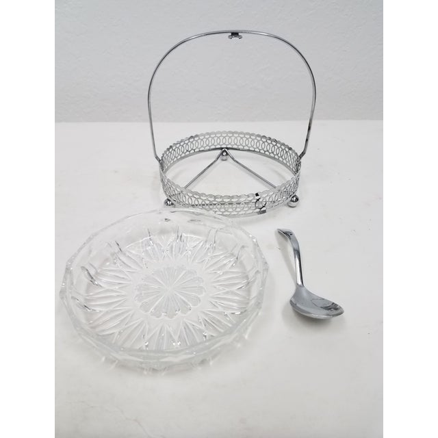 1900 - 1909 Antique English Silver Plate & Glass Serving Condiment Dish With Spoon For Sale - Image 5 of 10