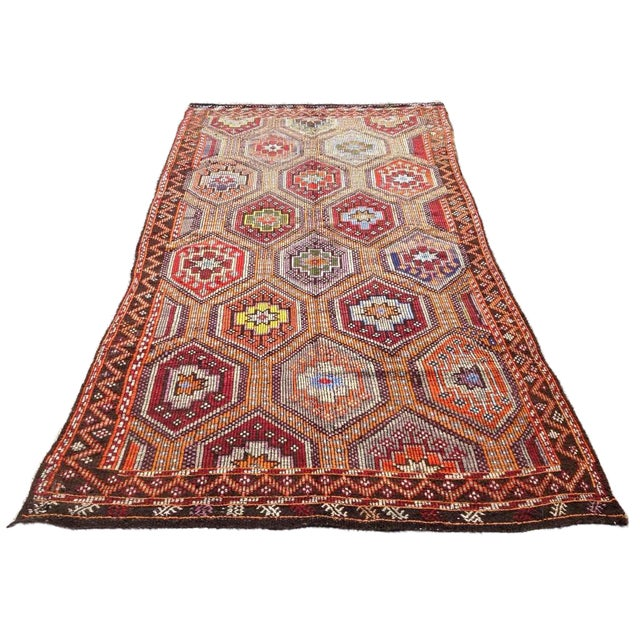 Vintage Turkish Kilim Rug - 5′6″ × 10′ For Sale