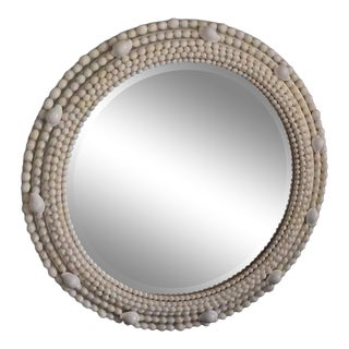 Silver & White Shell Wall Mirror For Sale