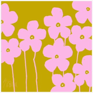 "Fabulous Flowers Pink and Green Fine Art Print 58"" X 58"" by Liz Roache For Sale"