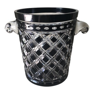 1980s Ebony Cut to Clear Crystal Ice Bucket For Sale