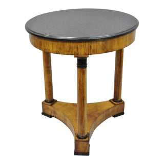 19th Century French Empire Round Marble Top Walnut Center Table For Sale