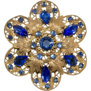 Czech 1930s Pin Brooch Metal Filigree Royal Blue Rhinestones Czechoslovakia Vintage For Sale