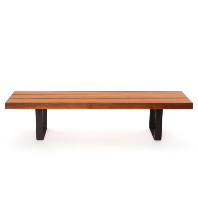 Custom 1950s walnut maple and iron bench or cocktail table, circa late 1950s. This unusual example has a solid maple top...