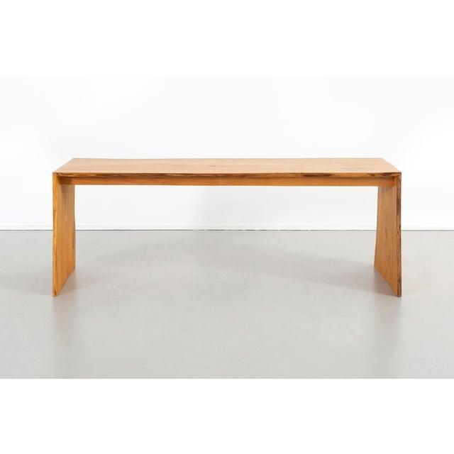 """bench made by Seth Keller USA, c 2014 elm 17 9/16"""" h x 48"""" w x 19 ¼"""" d x seat 17 9/16"""" h"""