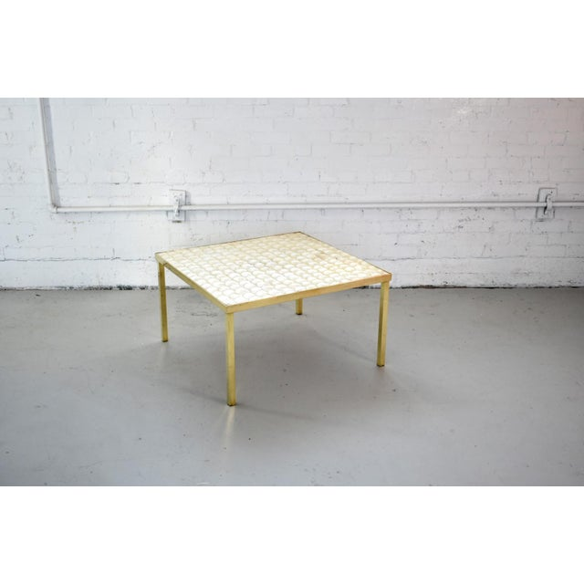 Boho Chic Vintage Hollywood Regency Brass and Capiz Shell Accent Table Attribited to Billy Haines For Sale - Image 3 of 13