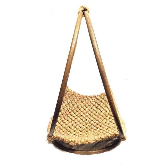 Mid-Century Modern Minimalist Wool Basket - Image 5 of 5