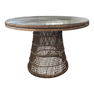 Boho Vintage Wicker Dining Table