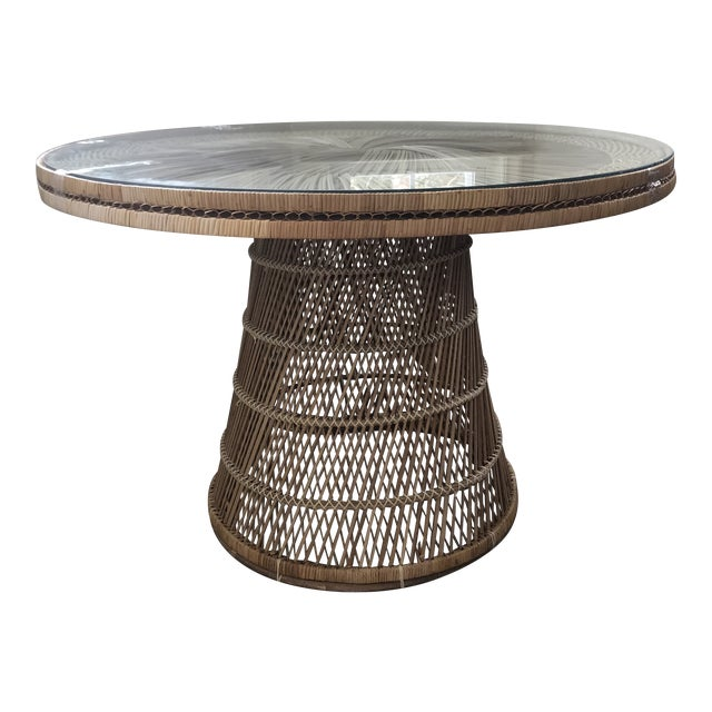 Boho Vintage Wicker Dining Table For Sale