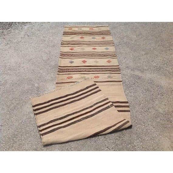 "Vintage Striped Kilim Runner - 2'1"" X 7'6"" - Image 5 of 5"