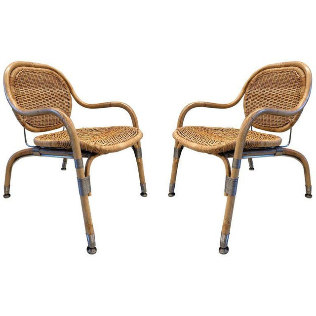 Tan Pair Mats Theselius Cane Chairs For Sale - Image 8 of 8