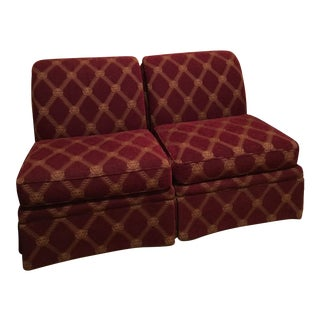 Burgundy Armless Slipper Chairs - a Pair