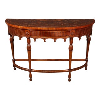 Carved Walnut Inlaid French Louis XVI Style Demilune Console Table For Sale