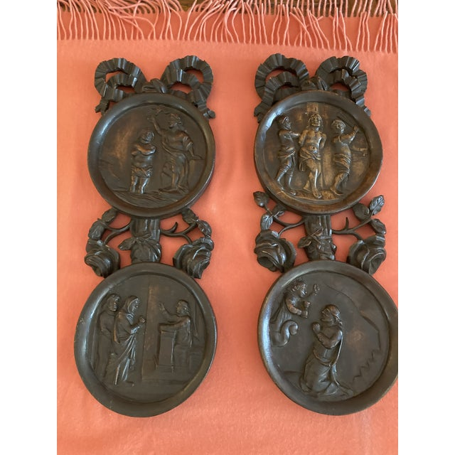 1920s Carved Wooden Wall Plaques - a Pair For Sale - Image 5 of 7