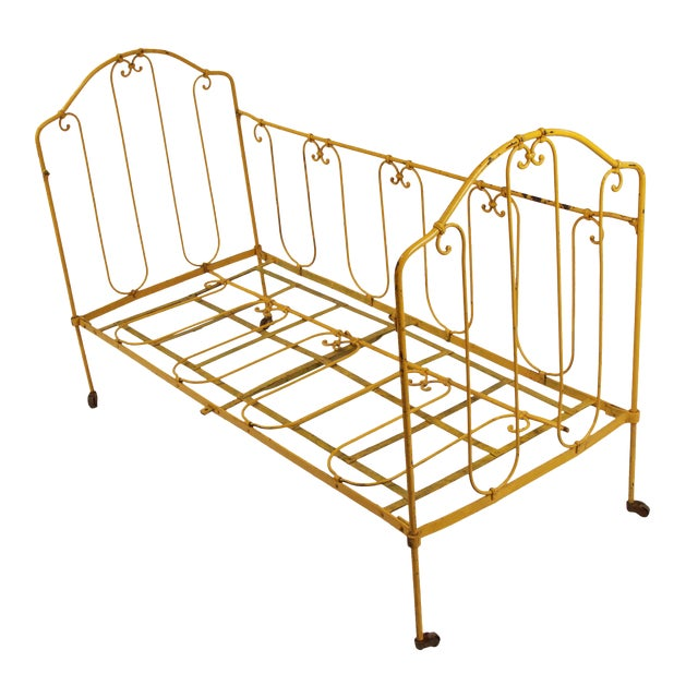 Vintage French Yellow Daybed For Sale
