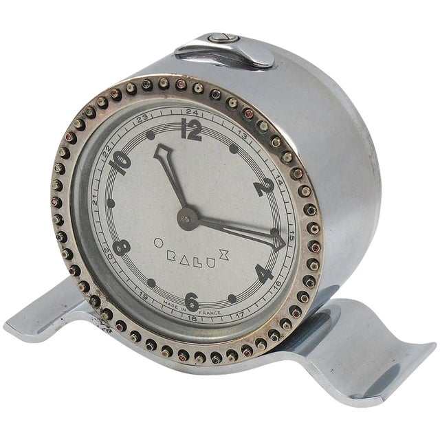 Art Deco Machine Age Oralux Chrome Clock for Blind People - Image 1 of 9