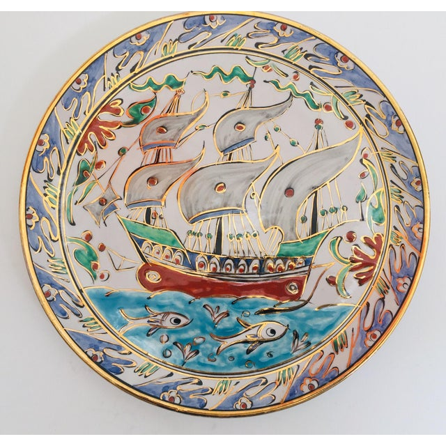 IKaros Hand Painted Carnations and Tulips Decorative Plate Rhodes, Greece For Sale In Los Angeles - Image 6 of 12