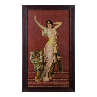 Early 20th Century Antique Isadora Duncan and Tiger Woolwork Collage For Sale
