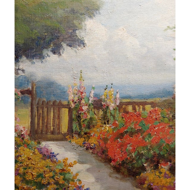 William Constable Adam-Beautiful Flower Garden With Gate -Oil Painting-1900s For Sale - Image 4 of 10
