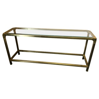 Chic Mastercraft Mid-Century Modern Brass and Glass Console or Sofaback Table For Sale