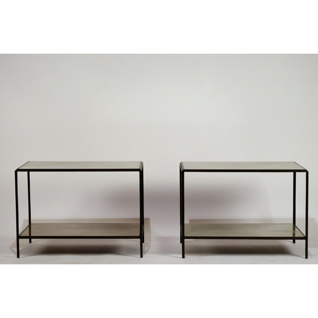 Pair of chic 'Rectiligne' mirrored end tables by Design Frères. Also great as nightstands or as a 2-part coffee table....
