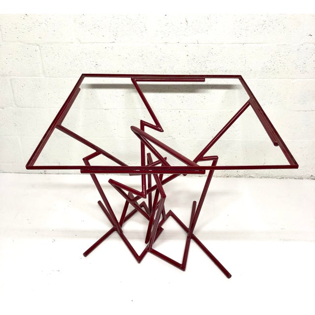 Sculptural Enamel Metal Post Modern Table For Sale - Image 4 of 9