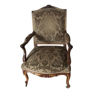 French Damask Chair For Sale