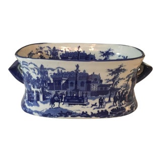 Heavy Ironstone Blue & White Scenic Tureen For Sale