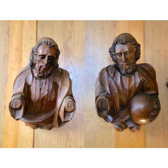 17th Century Baroque German Carved Wood Apostle Busts - A Pair For Sale - Image 13 of 13