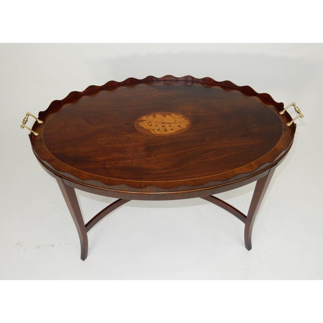 Hollywood Regency Kittinger Inlaid Mahogany Serving Table For Sale - Image 3 of 13