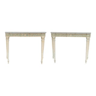 Maison Jansen Marble Top Painted Console Tables - a Pair For Sale