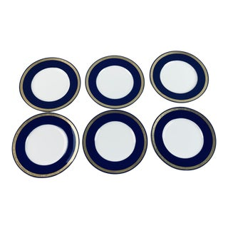 Tiffany Gold & Cobalt Blue Rimmed Dinner Plates - Set of 6 For Sale