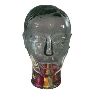 Vintage Green Glass Mannequin Head For Sale