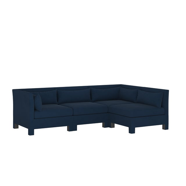Velvet Ink 4 Piece Sectional For Sale - Image 9 of 9
